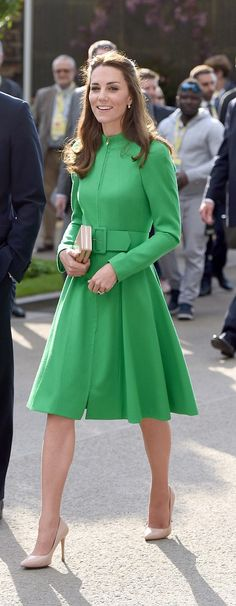 Obsessed with the Duchess Of Cambridge's green Catherine Walker dress and nude LK Bennett pumps! <3 #royalstyle #duchessofcambridge