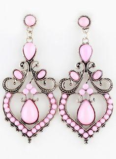 Pink Gemstone Retro Silver Earrings EUR€4.29