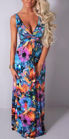 Pink Boutique Brunjes multicolour #floral #maxi #dress http://www.pinkboutique.co.uk/new-in/brunjes-multicolour-floral-maxi-dress.html #pinkboutique