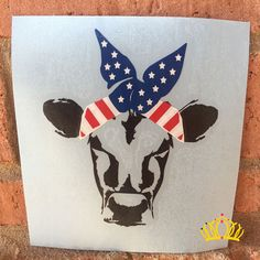 Customize your car window, laptop, binder, and more with this adorable cow decal! This design features a cow skull silhouette in black with a red, white, and blue bandana. Size: 5 inches H x 4.2 inches W You are sure to love the way it transforms the look of your water bottle, yeti cup, laptop, car window, and more! Each order includes easy-to-follow, step-by-step instructions and premium quality transfer tape for flawless installation. Dash of Flair decals meet the highest standards and…