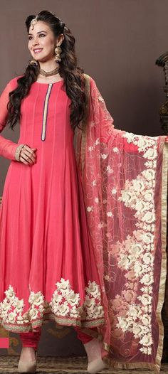 $118.82 Pink Full Sleeve Faux Georgette Long Anarkali Salwar Kameez 20161