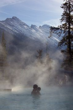 Banff Upper Hot Springs in Albert's Banff National Park. Three reasons why visitors love the Hot Springs: 1. Relaxing with family and friends 2. The hot waters 3. Scenery