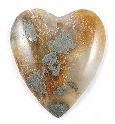 Heart-natural Moss Rock Agate gemstone Pendant,50mmX45mm, 1pc
