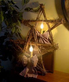 Primitive Grapevine Star Electric Candle Lights by kshopa on Etsy, $50.00