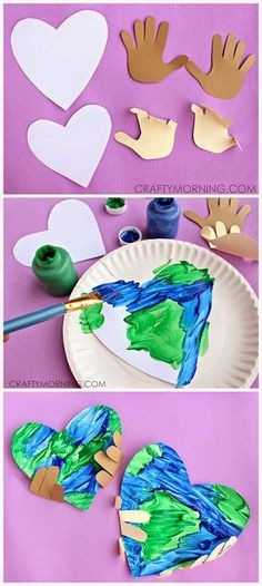 Earth Day Kids Craft - heart earth painting