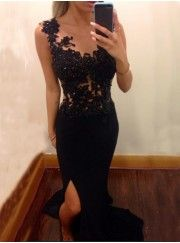 Simple Mermaid Scoop Chiffon Long Black Evening/Prom Dress With Appliques