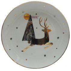 """Better Homes and Gardens 8"""" Porcelain Deer Salad Plate with Gold Decal - Walmart.com"""
