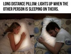 """Long Distance Relationship Light Pillows- ?! Why? So it can wake you up by lighting up? Plus if it was like..3 in the morning, you'd be all, """"3 am?!"""" :/ Me thinks not a good idea, Cookie."""