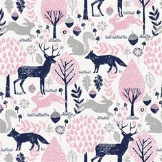 Bubblegum Pink and Navy Woodland Animals Fabric by the Yard | Pink Fabric | Carousel Designs
