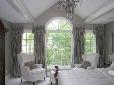 Exterior Ideas Of Unique Window Treatments With Grey Towering Curtains For A Large Glass As The Protective Cover From Heat And Sunlight Ideas of Unique Window Treatments Pictures