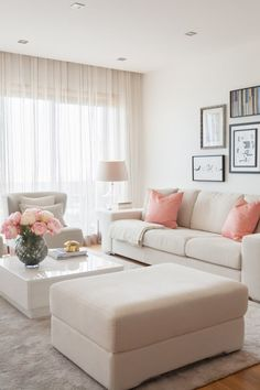 White and pink living room. Very calming and welcoming living room color scheme. Living Room Sofa Design, Living Room Decor Cozy, Living Room Color Schemes, Home Room Design, Living Room Interior, Home Living Room, Living Room Designs, Beige Living Rooms, Living Room Decor Inspiration