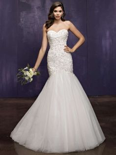 Fashion Sweetheart Chapel Train Tulle Trumpet Mermaid Bridal Gown Aer0018 $367 2014 Wedding Dresses