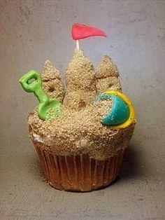 Wow, look at this! seaside sandcastle cupcake