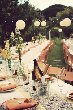 Family style wedding table