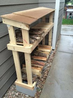 Wood Profits Shed Plans - Firewood Storage that is easy to make and keeps wood dry and out of the snow. (Diy Pallet Planter) Now You Can Build ANY Shed In A Weekend Even If You've Zero Woodworking Experience! Outdoor Firewood Rack, Firewood Shed, Firewood Storage, Lumber Storage, Pallet Storage, Firewood Holder, Patio Storage, Outdoor Storage, Wood Shed Plans