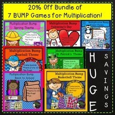 Save 20% off Bundle of 7 BUMP Multiplication Games with 7 different themes! HUGE SAVINGS! Your students will LOVE practicing those multiplication facts with these 7 sets of fun, colorful multiplication BUMP games! I've included the direction sheet, too!