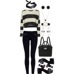 """A Simple Black & White Outfit"" by roses-s on Polyvore"