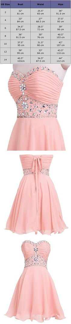 Fashion Plaza Short Chiffon Strapless Crystal Homecoming Dress D0263 (US4, Light Pink)