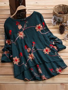 O-NEWE Vintage Flower Embroidery Long Sleeve Blouse can cover your body well, make you more sexy, Newchic offer cheap plus size fashion tops for women.
