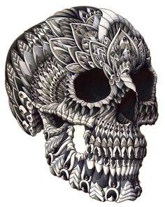 """""""Ornate Skull"""" Art Print by BioWorkZ on Society6."""