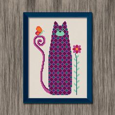 Tall Cat - cute, colorful, plaid patterned cat with a butterfly and a flower - PDF Cross Stitch Pattern