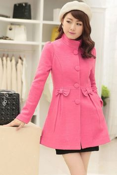Popular Bowknot Woolen Coat