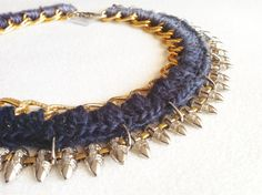 Urchin Crochet gold chain necklace by VALLISTIC on Etsy