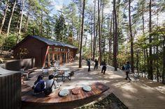 Azuma Architect & Associates, studio on site, Nacasa & Partners Inc. Landscape And Urbanism, Landscape Architecture Design, Lakeside Cafe, Porches, Forest Hotel, Lanscape Design, Contemporary Landscape, Contemporary Architecture, Treehouse Hotel