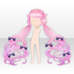 (Hairstyle) Twinkle Pigtails with Bows ver. Create Your Character, Pelo Anime, Play Clothing, Chibi Hair, Cocoppa Play, How To Draw Hair, Anime Outfits, Character Outfits, Anime Chibi