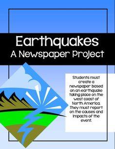 Earthquake Newspaper Project - students create a newspaper about a west coast earthquake. ($)