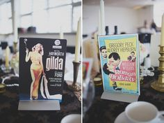 Tables named after famous movies. Movie posters as table names.  A Classic Hollywood Movie Inspired Wedding At Tyneside Cinema  Photography by http://www.hannahmillardphotography.com/