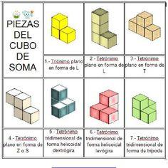 Cubo de Soma: 7 Partes, 36 figuras y plano de un cubo