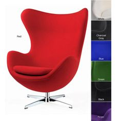And then there's this! I like its stand construction much more than four square legs. But it does have a hint of the supervillain - a good thing?  /// Red Wool Egg Chair
