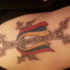 Armenian Cross and Flag tattoo