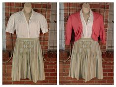 Liz Claiborne  white snap button blouse L $11; American Rag coral short cardigan L $11; Talbots light blue, green, coral full skirt, side zipper 12 $10