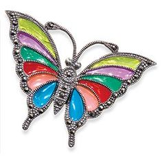 Rainbow Butterfly Brooch