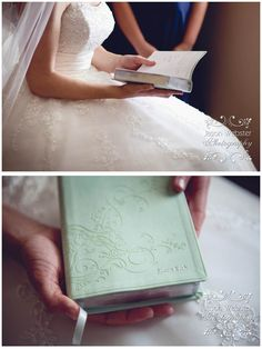 """On our wedding day, my groom gave me an engraved bible (with my married name on it). What a great gift! ♥"" Future husband, take note."
