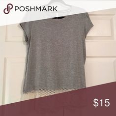 Lace-trimmed T-Shirt Lightweight T-Shirt with Lace Trim Xhilaration Tops Tees - Short Sleeve