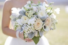 Peach and Cream Flower Bouquet With Dusty Miller | Southern Blooms by Pat's Floral Designs