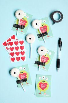 """diy valentines """"I only have eyes for you"""" lollipops"""
