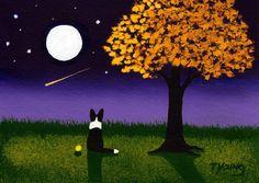 BORDER COLLIE Dog Moon Stars Outsider Folk Art PRINT Todd Young AUTUMN TWILIGHT #OutsiderArt