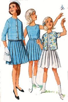 Vintage 50s Sewing Pattern Simplicity 4917 Girls Dress with Pleated Skirt and Short Jacket Skirt Size 10 UNCUT