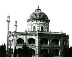 Details of the dome (showing five pointed stars representing the Bab) and of the two minarets, which are not used by Baha'is and so were decorative only.