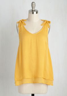 One Shadyside Character Top in Daffodil. Bistros and bars, ice cream scoops and sidewalk sales - in this tiered tank top, every moment spent in the quaint neighborhood will be sweetly stylish! #yellow #modcloth