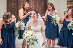 Happy bride with bridesmaids in blue in Washington DC