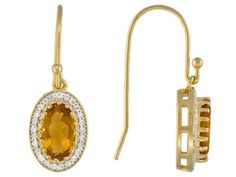 Stratify (Tm) Madeira Citrine 4.20ctw With .45ctw White Topaz 18k Yellow Gold Over Sterling Earrings