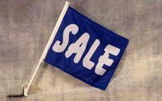 Sale In Blue Advertising Car Window Flag