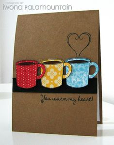 coffee ---- So cute!  The card designer used the cup from the Holiday Collection Framelits Die to cut DSP vs stamping.