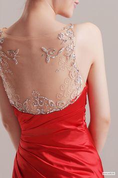 fall wedding Beaded spaghetti straps pleated satin floor-length dress $172.89