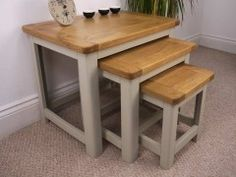 Aspen Painted Oak Sage Grey Nest Of Tables From Oak City
